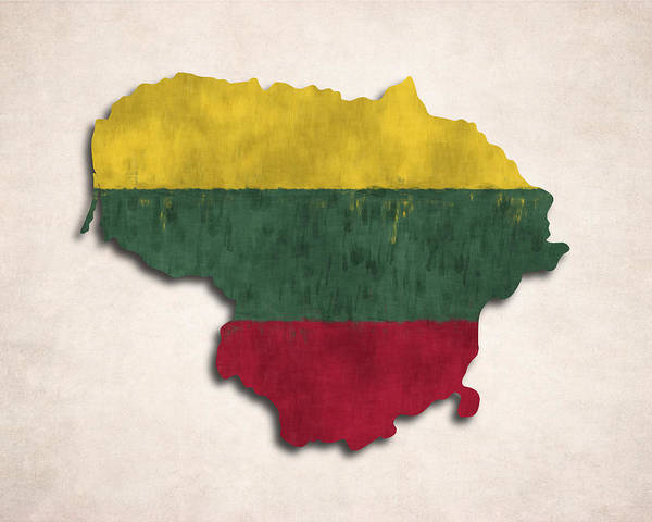 Wall Art - Digital Art - Lithuania Map Art With Flag Design by World Art Prints And Designs
