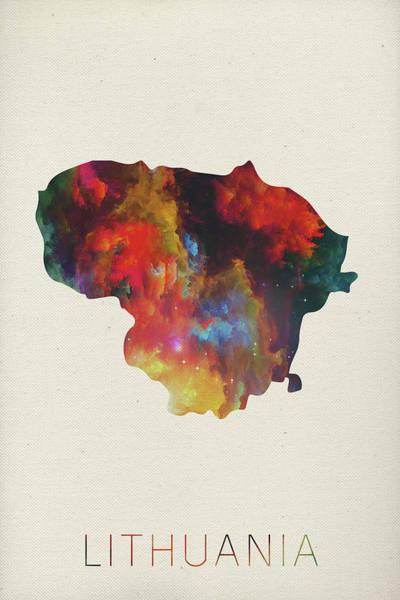 Lithuania Watercolor Map Art Print