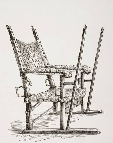 Litter Drawing - Litter Chair Used By Carlos I Of Spain by Vintage Design Pics