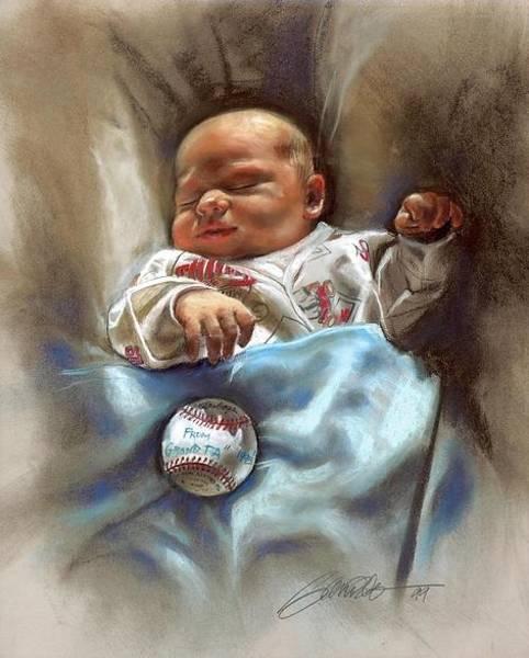 Minnesota Twins Painting - Little Baby Minnesota Twins Fan by Mark Sanislo