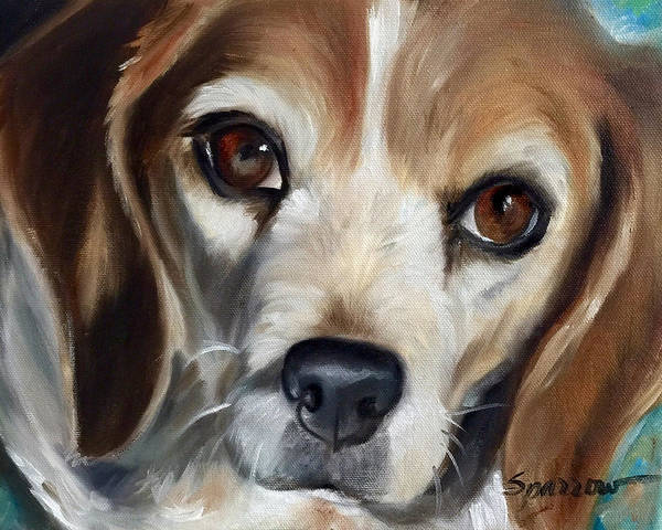 Mutt Painting - Little Beagle by Mary Sparrow