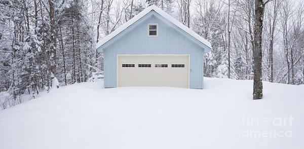 Wall Art - Photograph - Little Blue Garage In A Snow Storm by Edward Fielding