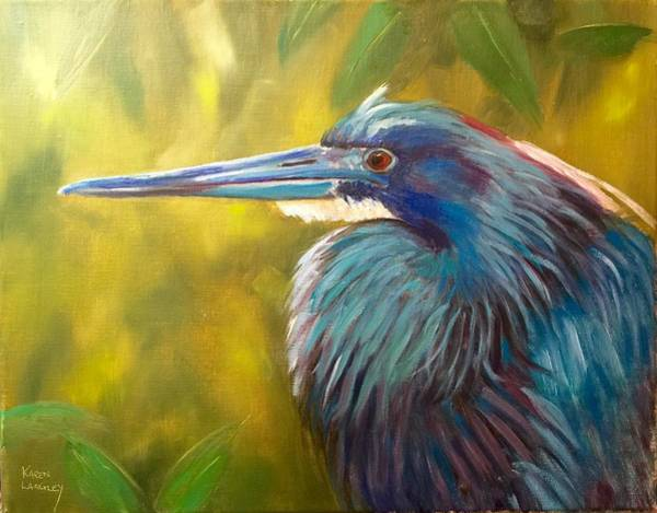 Wall Art - Painting - Little Blue Heron by Karen Langley