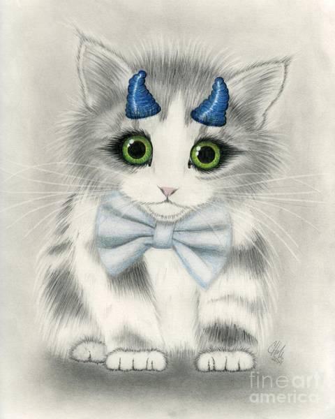 Drawing - Little Blue Horns - Devil Kitten by Carrie Hawks