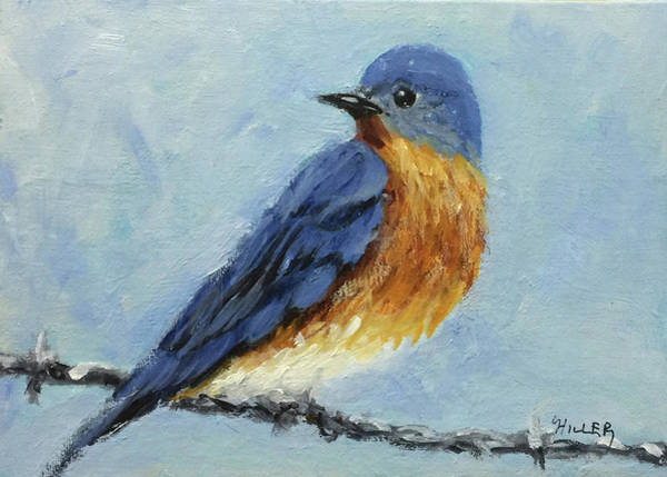dda32d54bac24 Similar Designs More from This Artist. Bird On A Wire Painting - Little  Bluebird by Linda Hiller