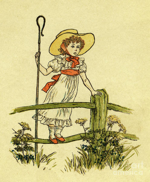 Wall Art - Drawing - Little Bo Peep Has Lost Her Sheep by Kate Greenaway
