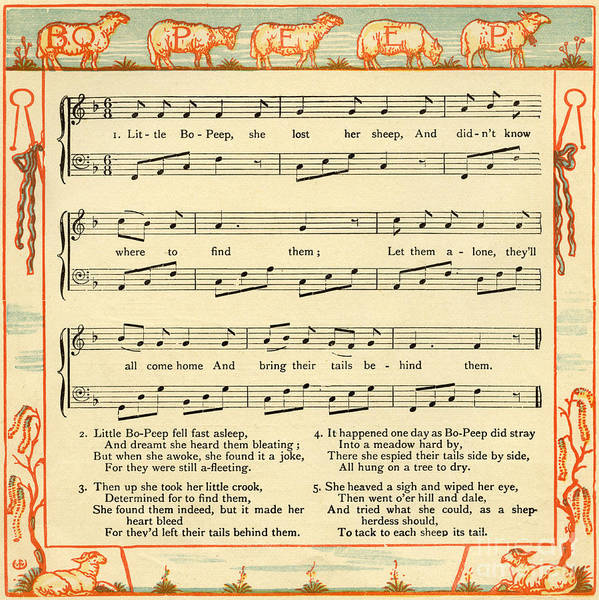 Wall Art - Drawing - Little Bo Peep Has Lost Her Sheep, Nursery Rhyme Score by Walter Crane