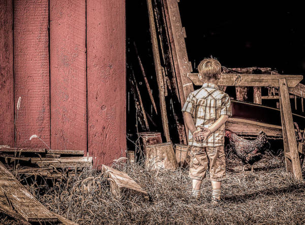 Big Boy Photograph - Little Boy And Rooster by Julie Palencia
