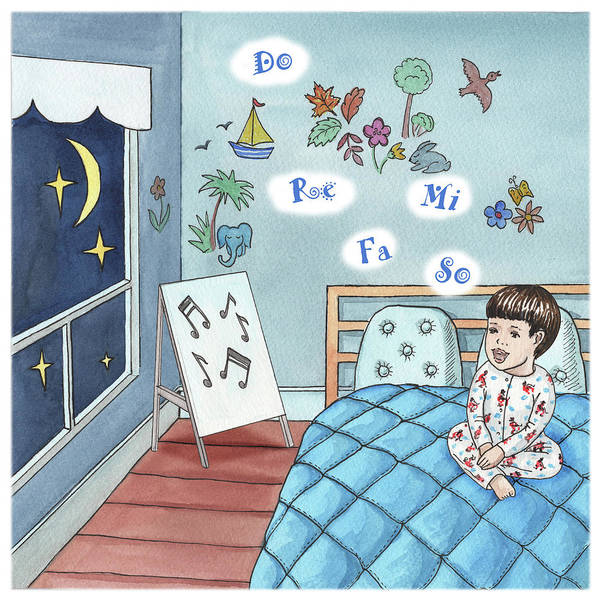 Happy Little Trees Painting - Little Boy Singing In The Bed by Irina Sztukowski