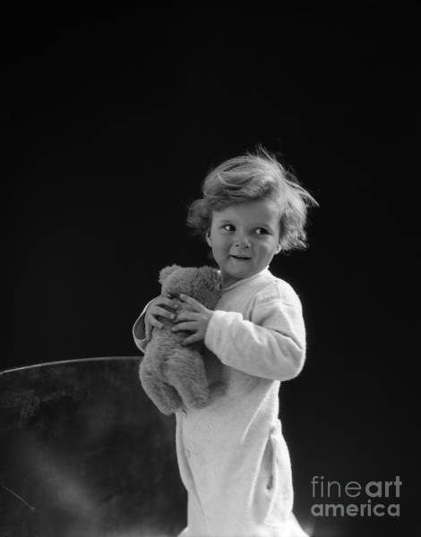Wall Art - Photograph - Little Boy With Teddy Bear, C.1930s by H. Armstrong Roberts/ClassicStock