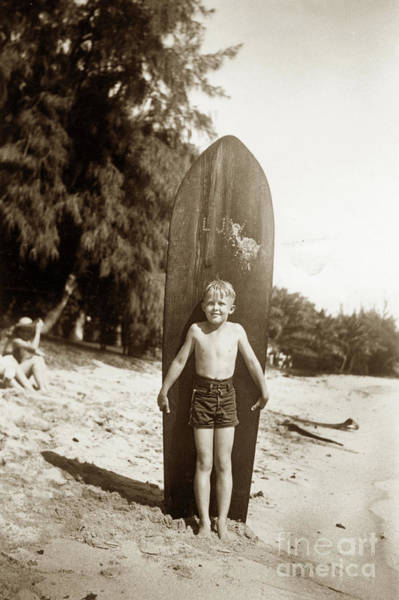 Photograph - Little Boy With Wooden Surfboard Circa 1960 by California Views Archives Mr Pat Hathaway Archives