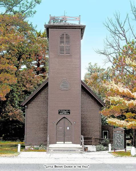Brown Mixed Media - Little Brown Church by Greg Joens