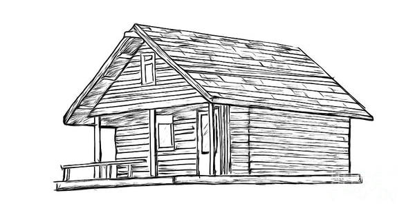 Woods Drawing - Little Cabin In The Woods by Edward Fielding