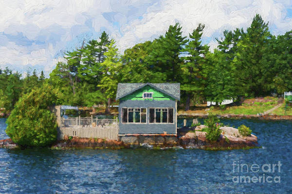 Photograph - Little Cabin On An Island - Painterly by Les Palenik