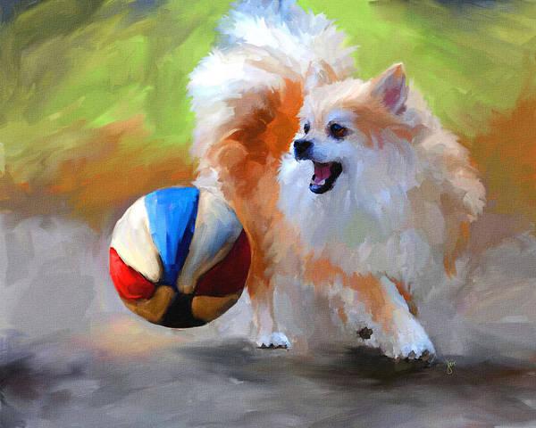 Pomeranian Painting - Little Cheerleader by Jai Johnson