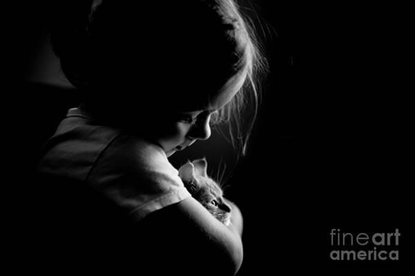 Wall Art - Photograph - Little Child Girl Hugging Kitty by Arletta Cwalina