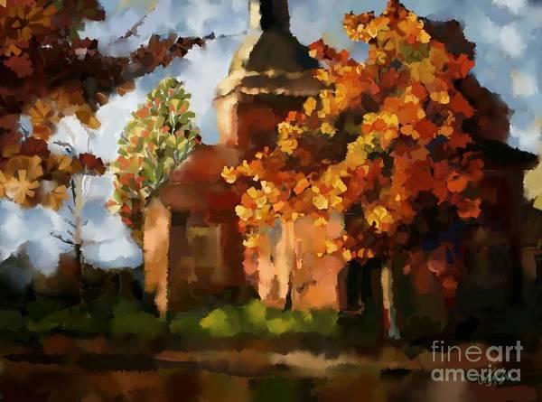 Thanksgiving Digital Art - Little Church by Carrie Joy Byrnes