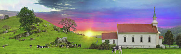 Photograph - Little Country Church Sunset Panorama by Lynn Bauer