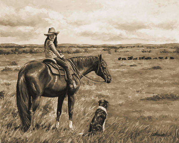 Wall Art - Painting - Little Cowgirl On Cattle Horse In Sepia by Crista Forest
