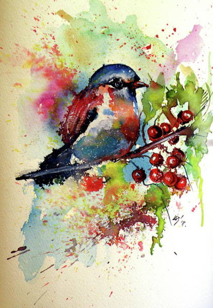 Wall Art - Painting - Little Cute Bird by Kovacs Anna Brigitta