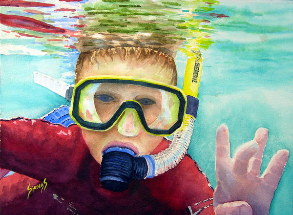 Painting - Little Diver by Sam Sidders