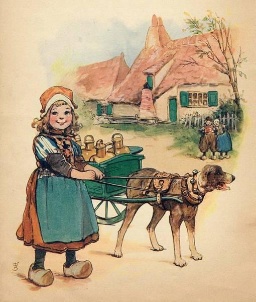 Little Dutch Girl With Milk Wagon Art Print