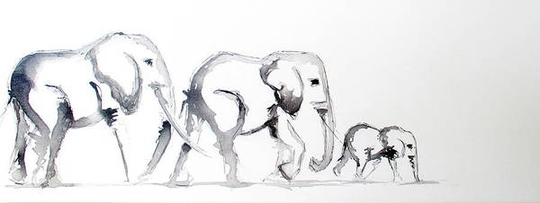 Painting - Little Elephant Family by Tracey Armstrong