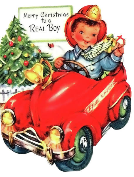 Toy Mixed Media - Little Fireman Wish You A Merry Christmas by Long Shot