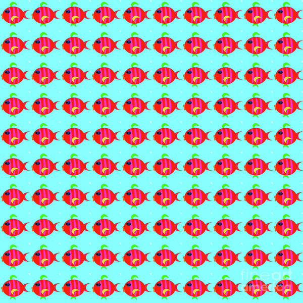 Digital Art - Little Fish Pattern by Silvia Ganora