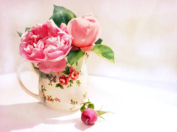 Rose Bud Digital Art - Little Flowered Jug by Margaret Hormann Bfa
