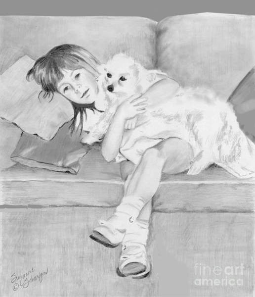 Wall Art - Drawing - Little Girl And Her Puppy by Suzanne Schaefer
