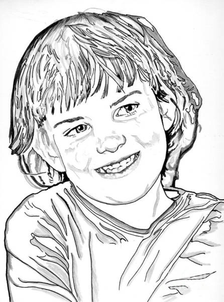 Drawing - Little Girl by Bill Richards