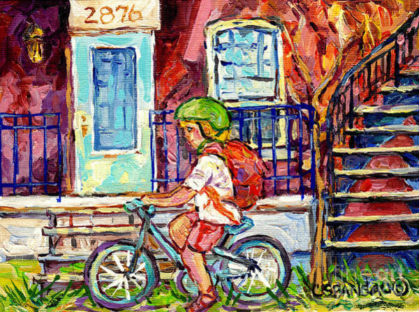 Painting - Little Girl Cyclist Verdun Montreal Doorway Balcony Scene Neighborhood Canadian Painting C Spandau   by Carole Spandau