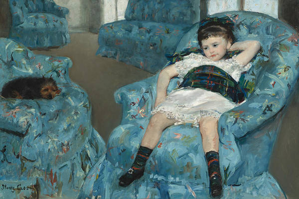 Painting - Little Girl In A Blue Armchair by Mary Cassatt
