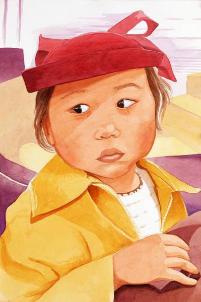 Wall Art - Painting - Little Girl In Red Hat by Judy Swerlick