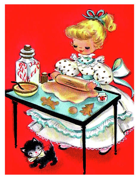Cake Digital Art - Little Girl Is Making Christmas Cookies by Long Shot