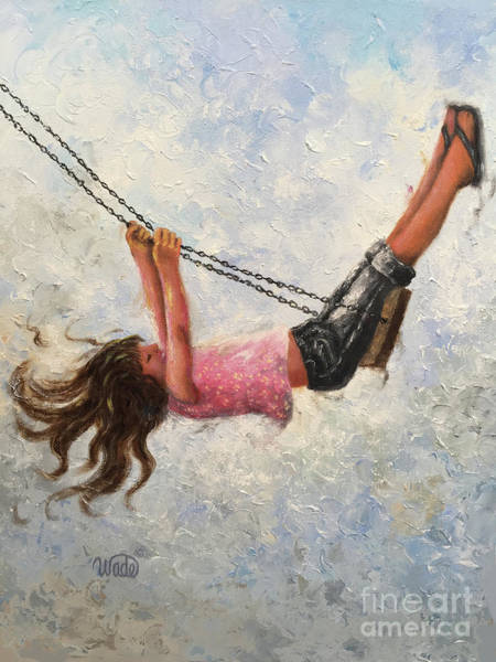 Wall Art - Painting - Little Girl Swinging High In The Sky by Vickie Wade