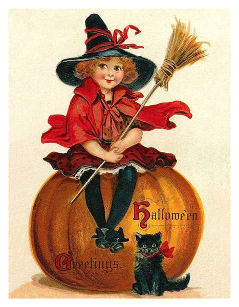Broom Mixed Media - Little Girl Witch Sitting On A Big Pumpkin by Long Shot
