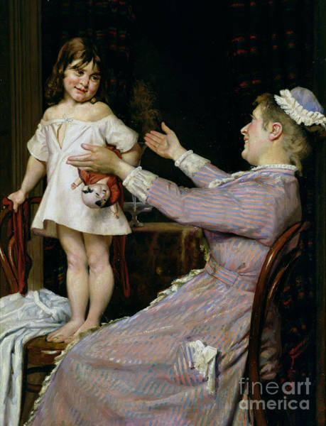 Sunday Painting - Little Girl With A Doll And Her Nurse by Christian Pram Henningsen