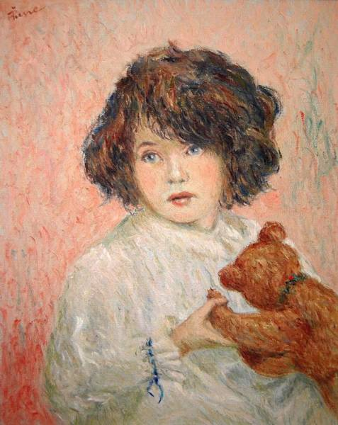 Little Girl With Bear Art Print