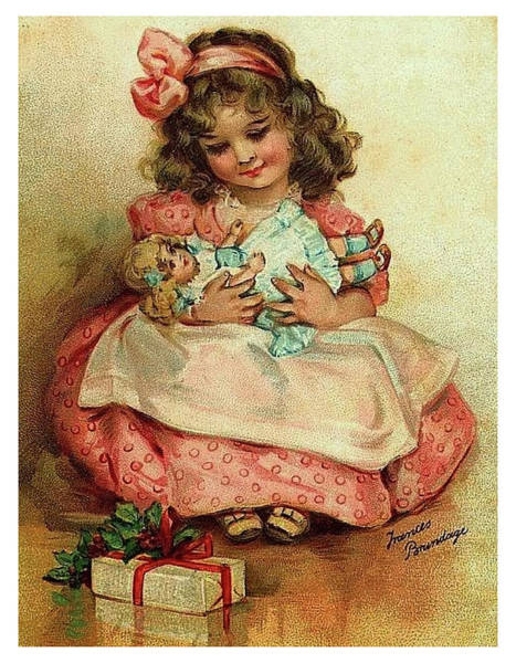 Christmas Gift Digital Art - Little Girl With Her Christmas Gifts by Long Shot