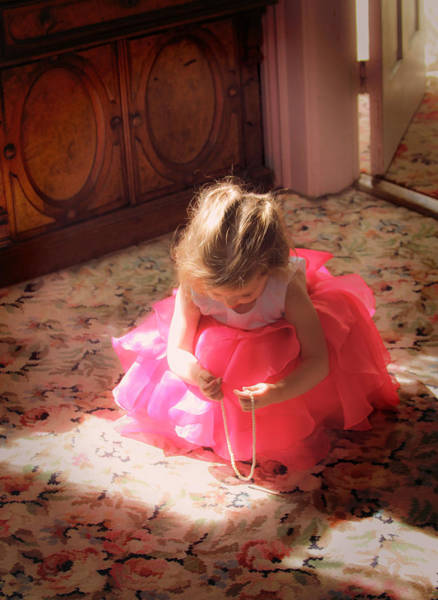 Photograph - Little Girl With Pearls by Bonnie Follett