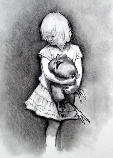Wall Art - Drawing - Little Girl With Pet Chicken by Joyce Geleynse