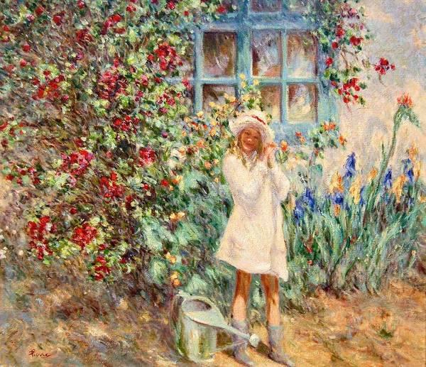Little Girl With Roses  Art Print