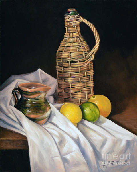 Wicker Wall Art - Painting - Little Green Jug by Ricardo Chavez-Mendez