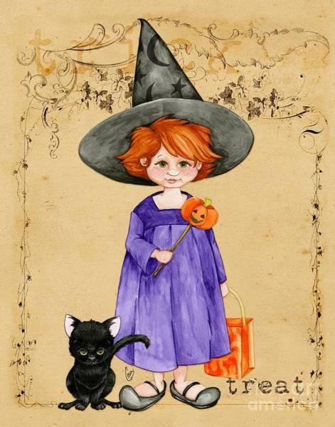 Little Halloween Witch Art Print