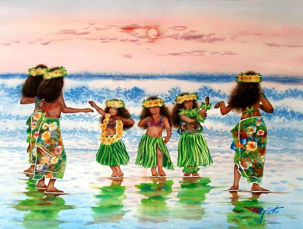 Hula Wall Art - Painting - Little Hulas by John YATO