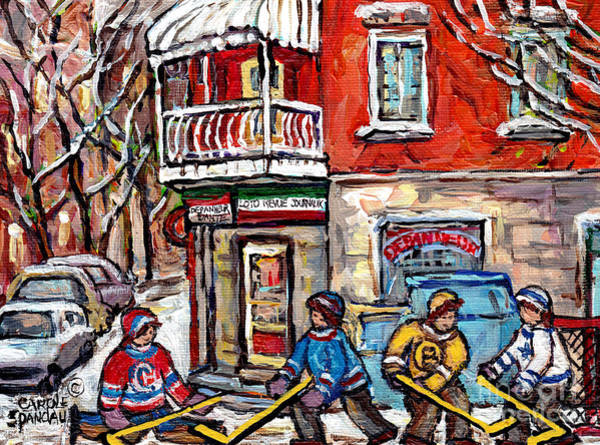 Painting - Little Italy Montreal Winterscene Painting For Sale Snowy Hockey Scene Depanneur Dante C Spandau Art by Carole Spandau