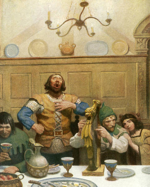 Little John Sings At The Banquet Art Print