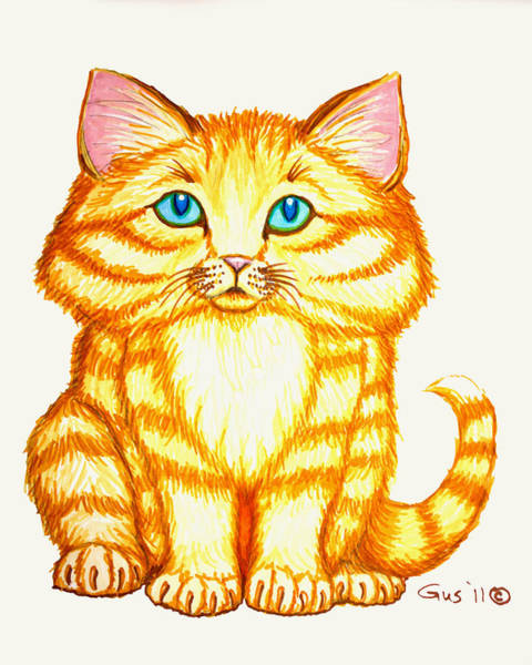 Tabby Drawing - Little Kitten by Nick Gustafson